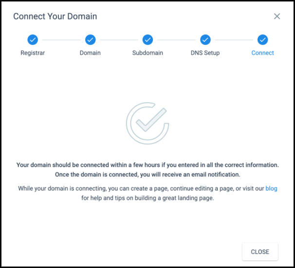 Done Connecting of Domain Message on Instapage