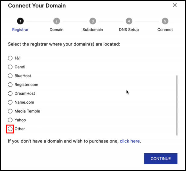 Other Registrar Option in Instapage