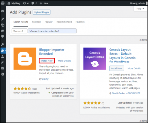Blogger Importer Extended Install Now Button