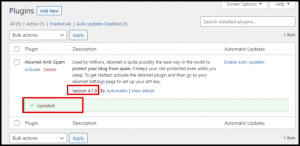 Plugin Updated Message in WordPress