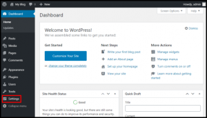 Settings Menu on WordPress