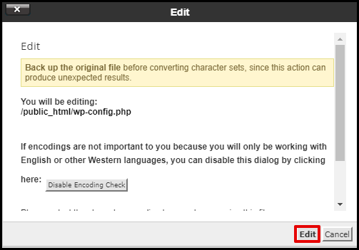 Wp-config File Edit Warning in File Manager