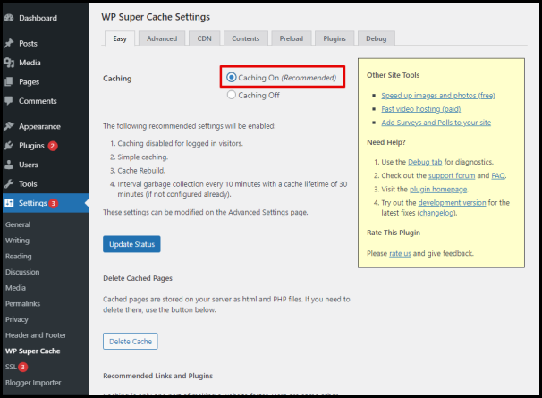Caching On Radio Button of WP Super Cache Plugin