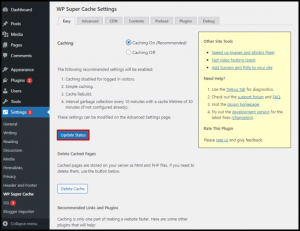Update Status Button in Default Settings of WP Super Cache