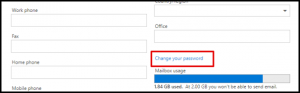 Change Your Password Link in Outlook Web Access