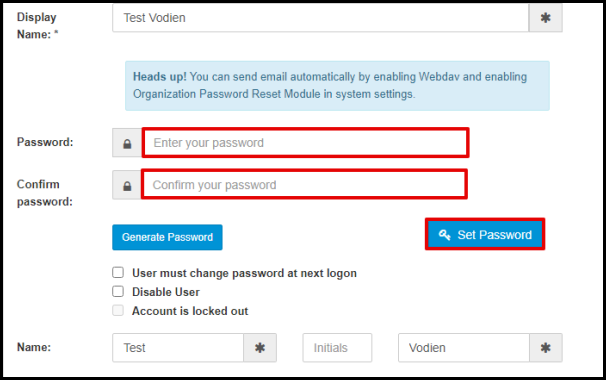 Enter New Mailbox Password in Exchange Manager