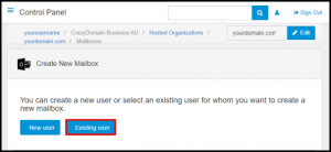 Existing User Button in Exchange Manager