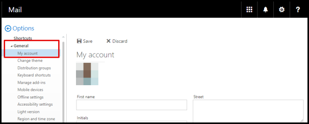My Account Tab in Outlook Web Access