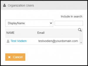 Select User for Mailbox in Exchange Manager