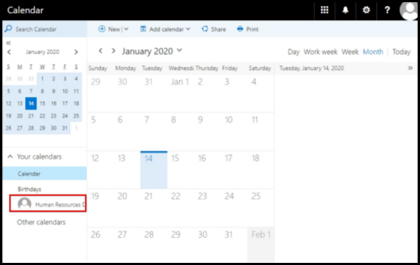 Shared Calendar Display on Outlook Web Access