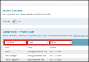 Assign Fields to Contact List