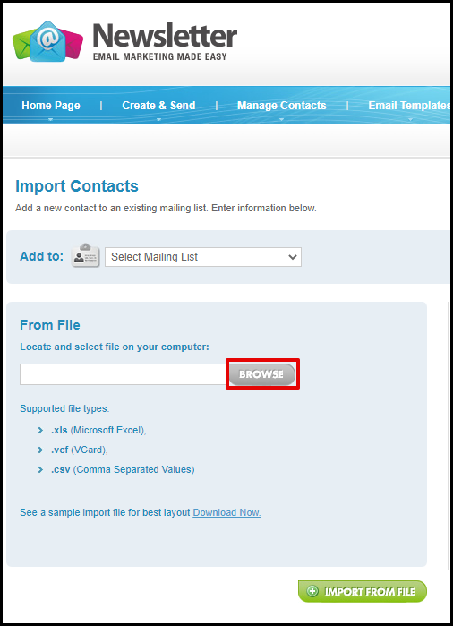 Browse Contact List to Import