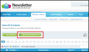 Create New Mailing List Button