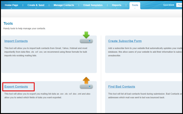 Export Contacts in Mailing List Manager