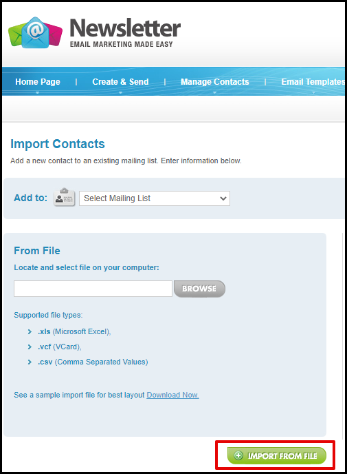 Import From File Button in Mailing List Manager