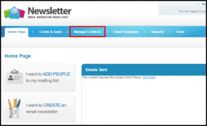 Manage Contacts Tab in Email Marketing
