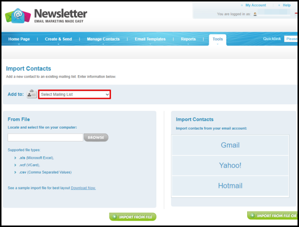 Select Mailing List to Import Contacts