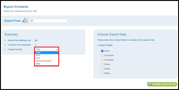 Select File Format to be Exported