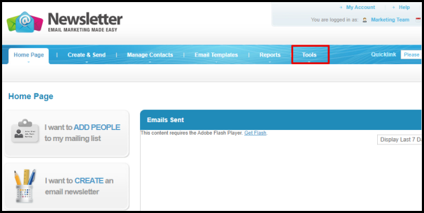 Tools Tab in Mailing List Manager