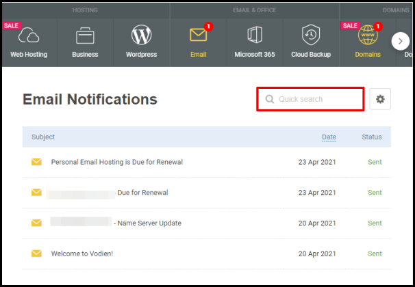 Email Notifications Search Box in Vodien Account Manager