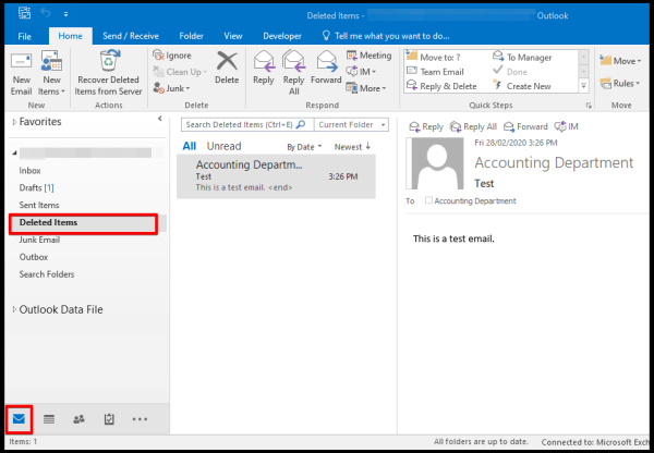 Deleted Items Folder in Outlook
