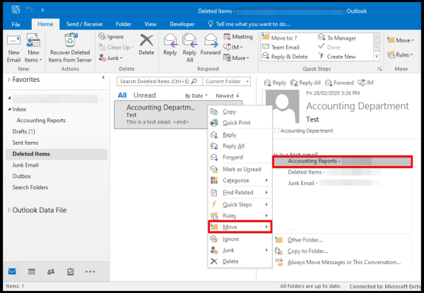 Move Email in Outlook