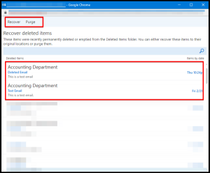 Recover and Purge Options in Outlook
