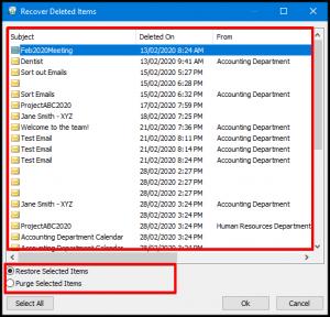 Restore Selected Items in Outlook