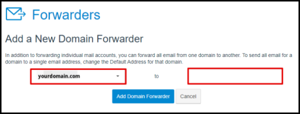 Enter Domain to be Forwarded in Hosting Manager