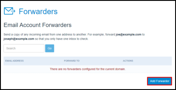 Add Email Forwarder Button in Hosting Manager
