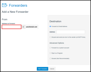 Enter Email to Forward in Hosting Manager