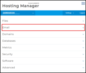 Email Drop Down in Hosting Manager