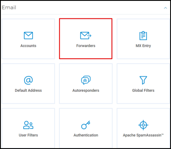 Forwarders Option in Hosting Manager