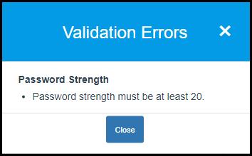 Password Strength Error