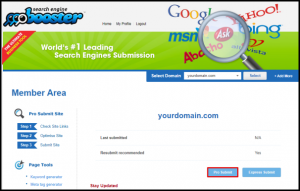 Pro Submit Button in Traffic Booster
