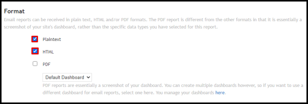 Select Data Report Formats in My Web Stats Page