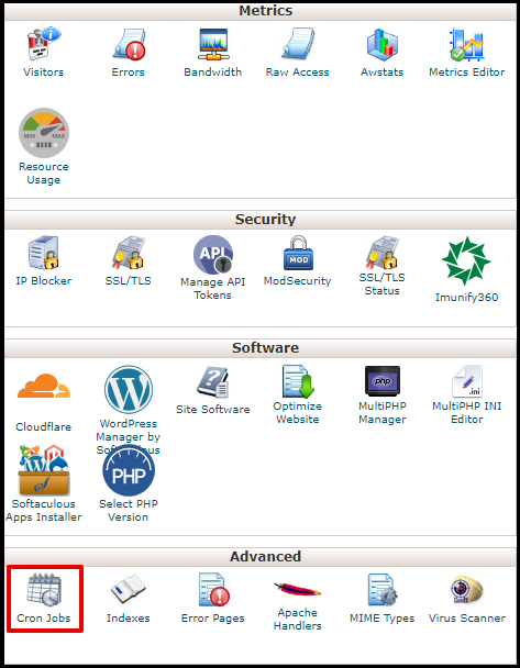 Cron Jobs Icon in cPanel