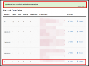 Cron Job Added Message in cPanel