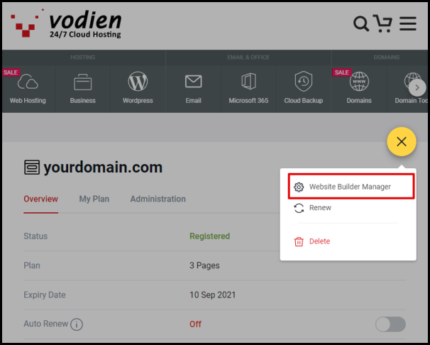 Website Builder Manager Option in Vodien Account Manager