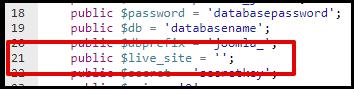 Joomla Live Site Line in Config File