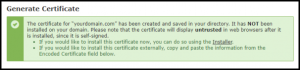 Certificate Generated Successfully Message