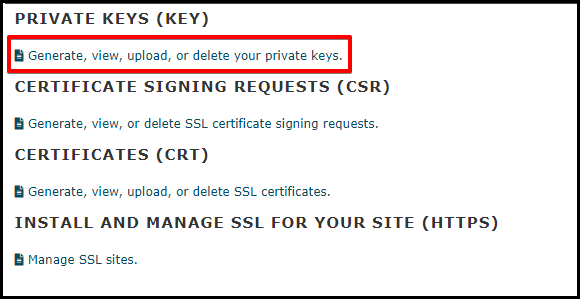 Generate Private Key Link in cPanel