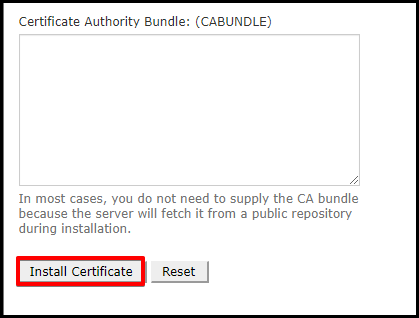 Install Certificate Button in cPanel