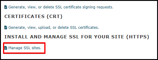 Manage SSL Sites Link in cPanel