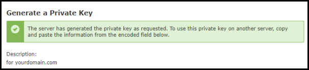 Private Key Generated Message