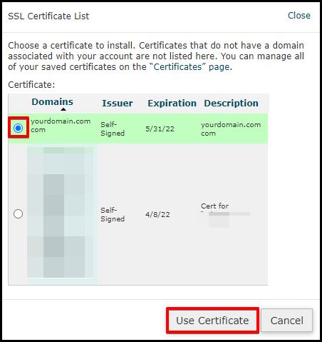 Use Certificate Button in cPanel