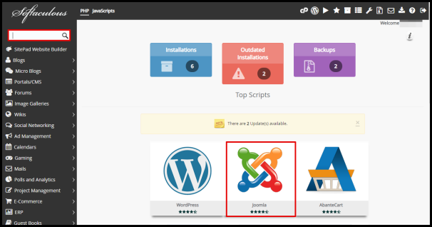 Joomla Option and Search Bar in Softaculous