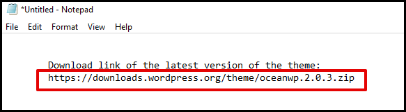 WordPress Theme Download Link in Notepad