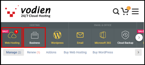 Web Hosting and Business Hosting Buttons in Account Manager
