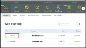 Select Web Hosting Plan in Account Manager